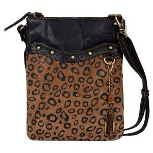 Upcycled Leather Studded Leopard Print Crossbody